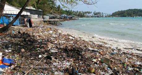 Las playas, cerca de los pueblos, envadidas de basuras y desperdicios.